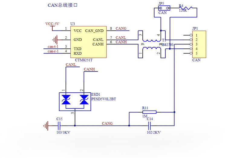 canopen slave module\u2014广州致远电子股份有限公司designed according to the zhiyuan recommended can transceiving circuit, the can interface is equipped with 2,500 vdc electrical isolation and ±8 kv